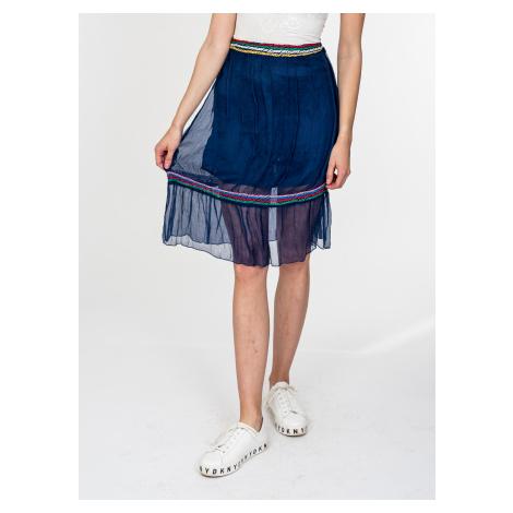 Modrá hedvábná sukně - LOVE MOSCHINO