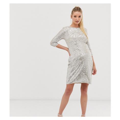 TFNC Maternity mini 3/4 length sleeve sequin dress in silver