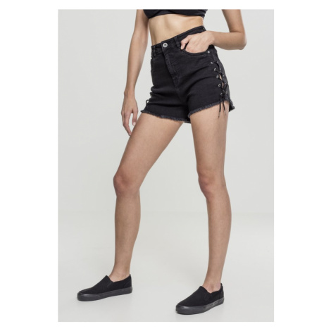 Ladies Highwaist Denim Lace Up Shorts Urban Classics