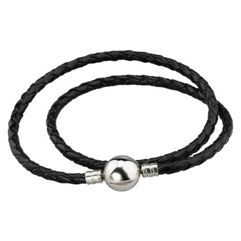 Linda's Jewelry Kožený náramek Dvojitý Černý Chirurgická ocel INR089 Délka: 18