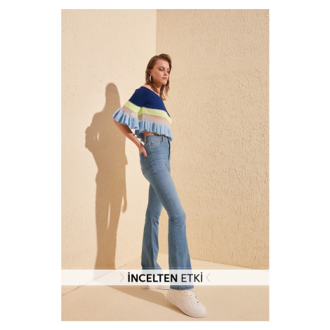 Trendyol Blue Thin Effect High Waist Flare Jeans