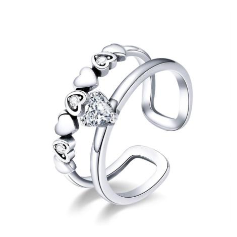 Linda's Jewelry Stříbrný dvojitý prsten Srdíčka Ag 925/1000 IPR059 Velikost: Univerzální