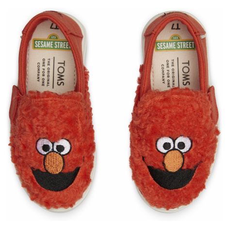 Red Elmo Faux Shearing TINY Luca Slip-on Toms