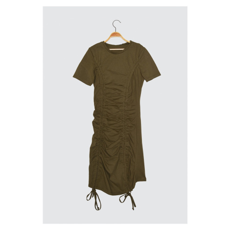Trendyol Haki Burly Short Sleeve Bicycle Collar Knitted Dress