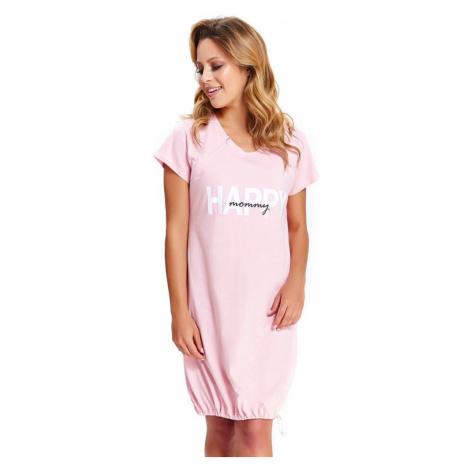DN Nightwear Mateřská noční košile Happy Mommy růžová zip