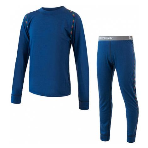 Dětské funkční spodky + triko SENSOR Merino Air tm. modrá