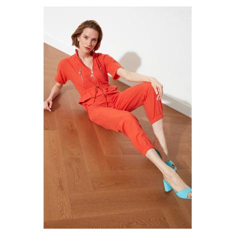 Trendyol Orange Zipper Detailed Overalls