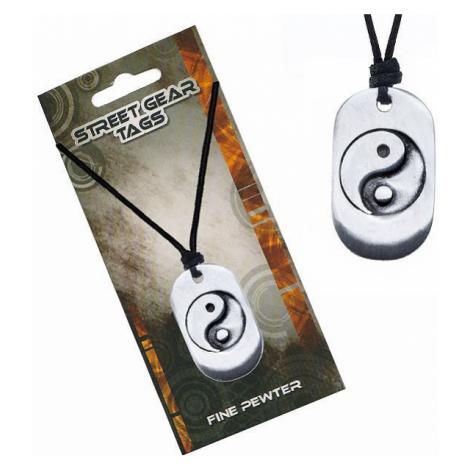 Šňůrkový náhrdelník, kovová známka se symbolem Jin Jang Šperky eshop
