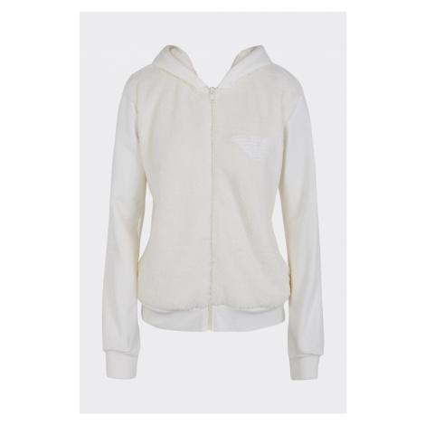 Emporio Armani Underwear Emporio Armani Fuzzy Fleece plyšová mikina na zip dámská - smetanová