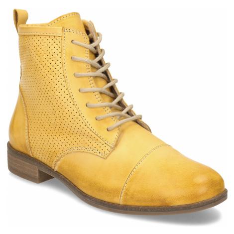Žlutá dámská kožená kotníčková obuv Baťa