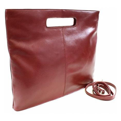 Červená kožená elegantní zipová kabelka Samantha Arwel