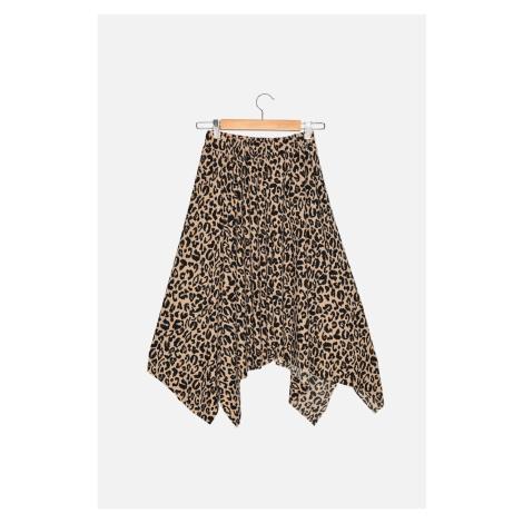 Trendyol Brown Leopard Patterned Corduroy Knitted Handkerchief Petite Skirt