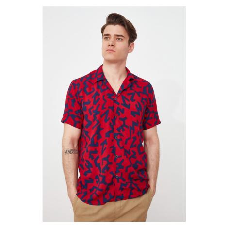 Trendyol Red Men's Regular Fit Top Collar Short Sleeve Shirt