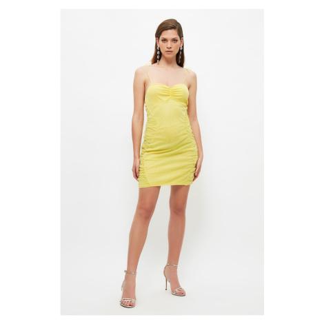 Trendyol Yellow Draped Detailed Tulle Dress