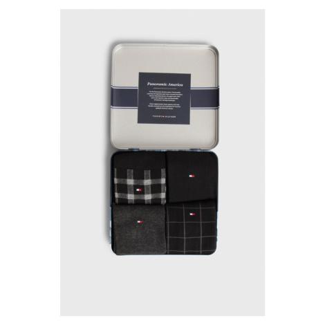 Tommy Hilfiger pánské černo šedé ponožky dárkové balení