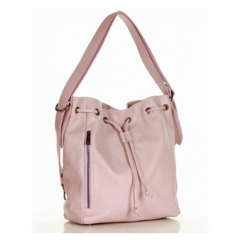 Kožená kabelka přes rameno Mazzini M263 růžová