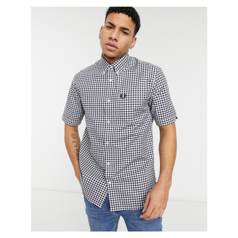 Fred Perry gingham short sleeve shirt in blue
