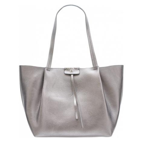 Patrizia Pepe kožená kabelka přes rameno - stříbrná