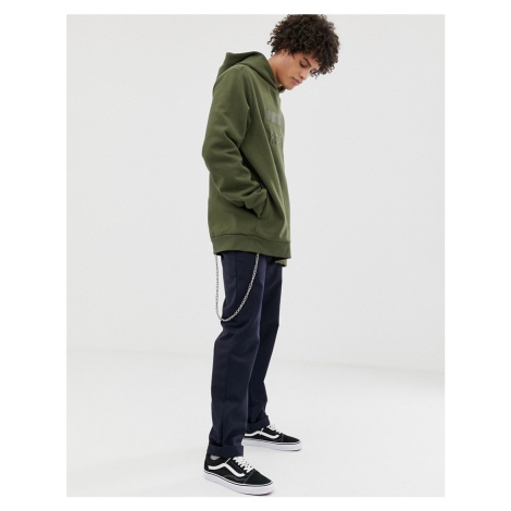 Dr Denim Ace hoodie in grey with embroidered logo-Green Dr. Denim