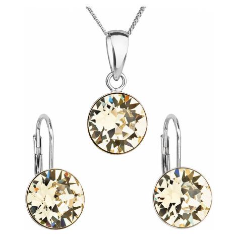 Sada šperků s krystaly Swarovski náušnice, řetízek a přívěsek žluté kulaté 39140.3 Victum