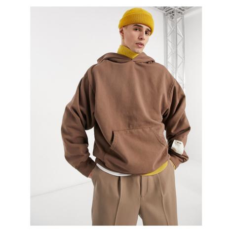 Jaded London garment dyed hoodie in brown