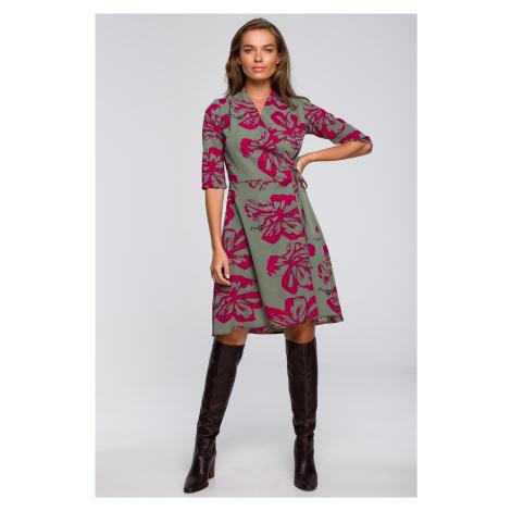 Zavinovací šaty s potiskem obálkové šaty s kapsami a vázáním