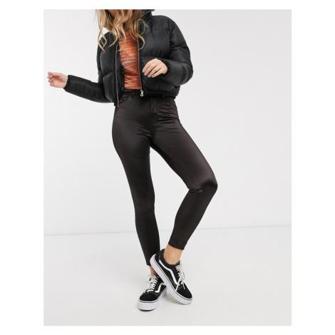 Monki wet look skinny trousers in black