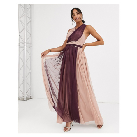 Anaya With Love tulle multiway maxi dress in contrast taupe and burgundy