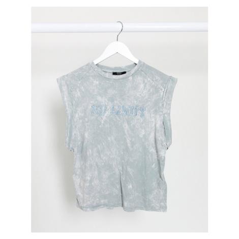 Bershka 'no limits' acid wash vest in grey