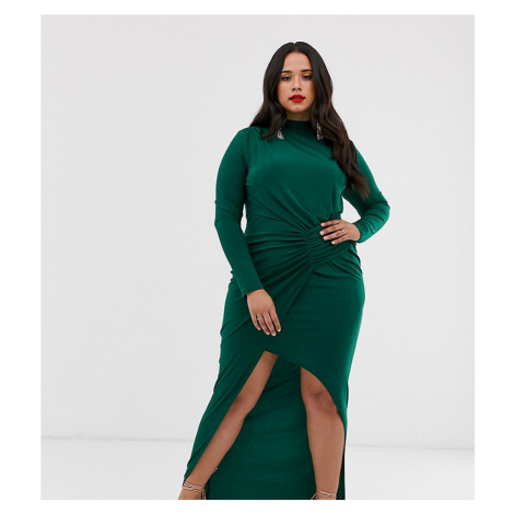 Club L London Plus high neck long sleeve split thigh maxi dress-Green