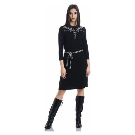 Francouzské černé šaty s dlouhým rukávem Vive Maria Cowgirl