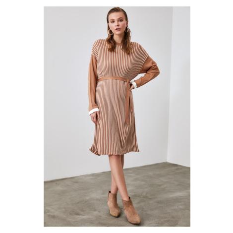 Trendyol Camel Bicycle Collar Striped Knitwear Dress
