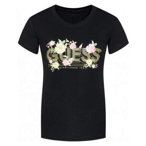 Guess GUESS dámské černé tričko SS CN JANEL TEE