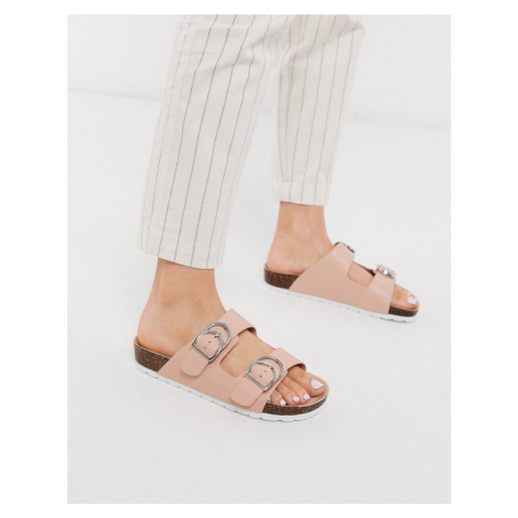 London Rebel double buckle footbed sandal in beige