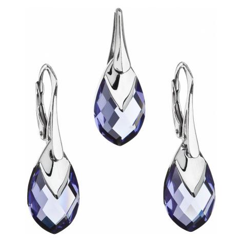 Sada šperků s krystaly Swarovski náušnice a přívěsek fialová slza 39169.4 tanzanite Victum