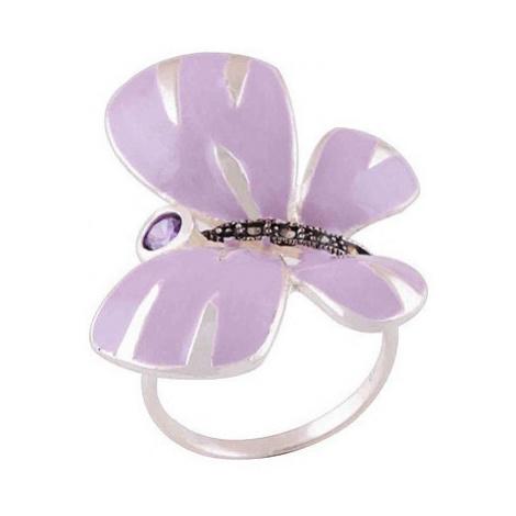 AutorskeSperky.com - Stříbrný prsten s markazity zdobený smaltem - S273