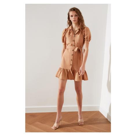 Trendyol Camel Belt ButtonEd Dress