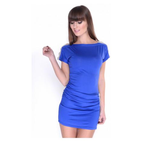 Zdobené šaty s lodičkovým výstřihem barva modrá Oxyd