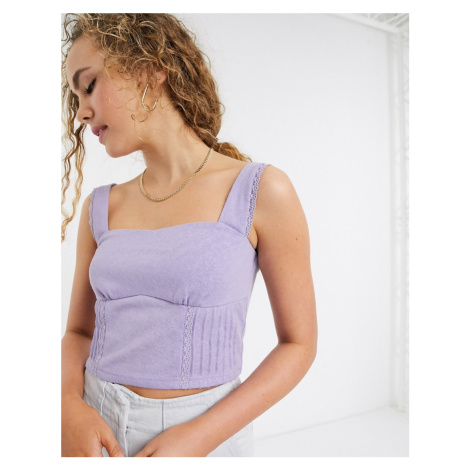 Lost Ink structured crop top with lace trim-Purple