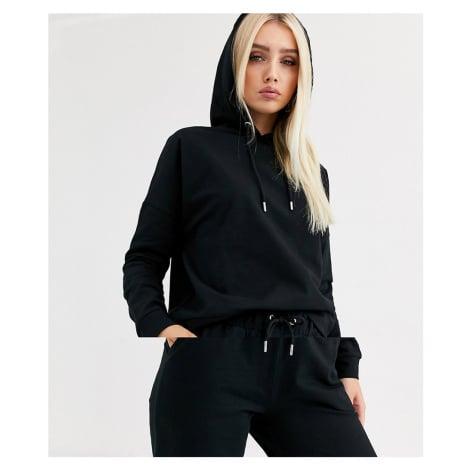 ASOS DESIGN tracksuit hoodie / slim jogger with tie in organic cotton-Black