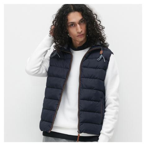 Reserved - Prošívaná vesta s kapucí - Tmavomodrá