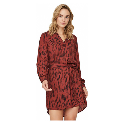 Vero Moda Dámské šaty VMSINE L/S SHORT DRESS WVN BF Madder Brown Iben