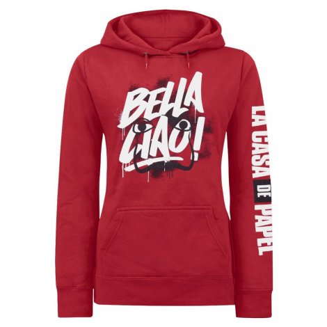 Haus des Geldes Bella Ciao Dámská mikina s kapucí červená