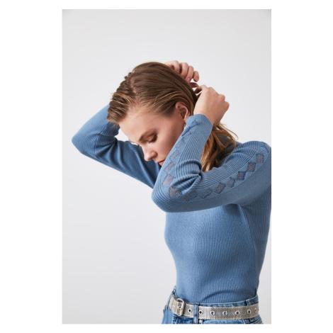 Trendyol Blue Sleeves Transparent Detailed Knitwear Sweater