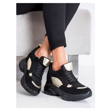 SHELOVET COMFORTABLE BLACK AND GOLD SNEAKERS