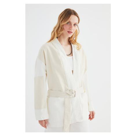 Trendyol Color Block Oversized Denim Jacket with Ecru Belt