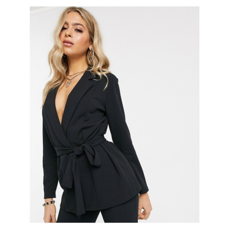 ASOS DESIGN jersey wrap suit blazer in black