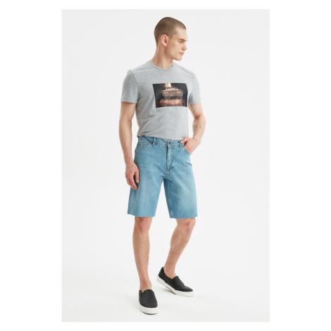 Trendyol Blue Men's Regular Cut-Hem Denim Shorts & Bermuda