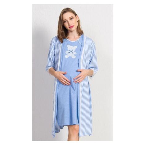 Dámský župan s mateřskou košilí Méďa, S, světle modrá Vienetta Secret