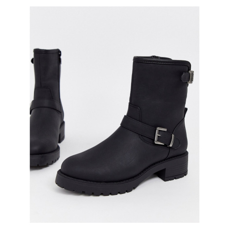 ASOS DESIGN August biker boots in black